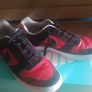 Red Authentic Leather Nike SB Skateboarding Shoes